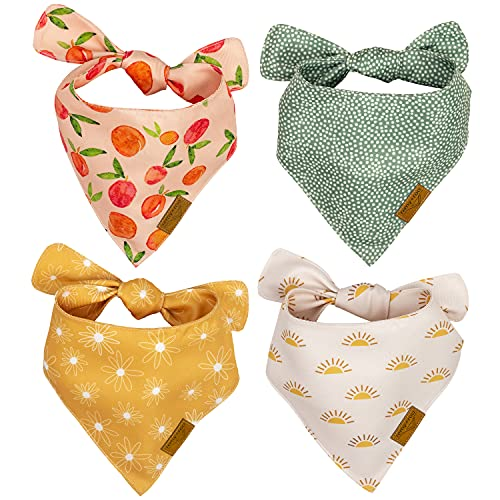 Remy+Roo Dog Bandanas - 4 Pack | Kathrine Set | Premium Durable Fabric | Unique Shape | Adjustable Fit | Multiple Sizes Offered (Small)