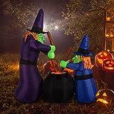 HOMCOM Aufblasbare Hexen Hexenkessel Figur Luftfigur Halloween Deko mit LED Beleuchtung, Polyester, 170x60x180cm - 2