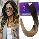 LaaVoo 16 Pulgada Seamless Tape Extensions Cabello 100% Humano Castano Oscuro Balayage...