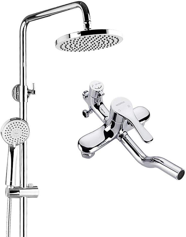 BEIQIHHY Badezimmer Dusche Dusche Kupfer Aufzug Dusche Set DREI-Block-Wasser Duschkopf heien und kalten Wasserhahn, Set B