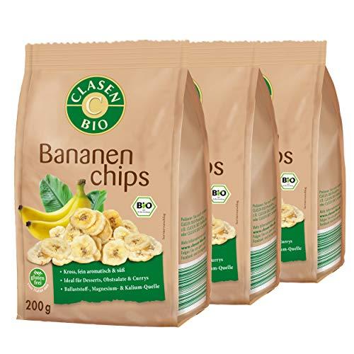 3x CLASEN BIO Bananenchips mit Honig gesüßt, kross und fein aromatisch - 200 g