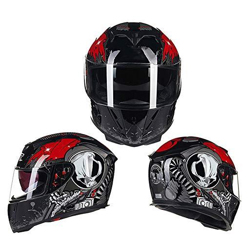 WWJJE (Negro Rojo) Casco Integral de Moto ECE | Casco abatible de Moto, Off-Road Racing, Motocross, para Honda/Yamaha/Suzuki/Kawasaki, Bandit Helmet.-XXL
