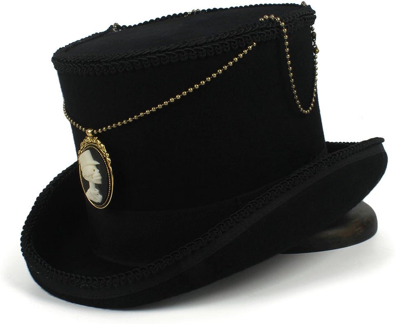 calidad fantástica YQXR Moda Sombreros Top 15 CM de lana de de de los hombres de las señoras steampunk sombrero de copa negro sombrero de Fedora (Color   Negro, Talla   59CM)  entrega rápida