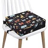Sitzerhöhung Stuhl, AOIEORD PU Waschbar 2 Gurte Sicherheitsschnalle Sitzerhöhung Kinder für Esstisch, Tragbares Boostersitze (Elefant Schwarzer)