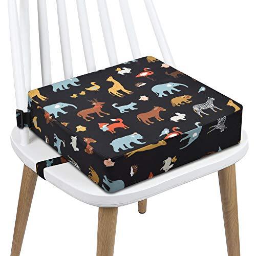 Sitzerhöhung Stuhl, AOIEORD PU Waschbar 2 Gurte Sicherheitsschnalle Sitzerhöhung Kinder für Esstisch, Tragbares Boostersitze