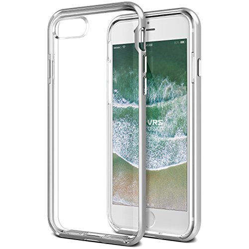 VRS Design New Crystal Bumper - Cover Ultra-Sottile trasparente in Morbido TPU per iPhone 7/8, Argento(Light silver)