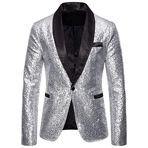laamei Herren Blazer Sakko Anzug Samt Einknopf Anzugjack Herren Sakko Blazer Velour Sakko Samt Freizeit Party Hochzeit (XL, Silber)