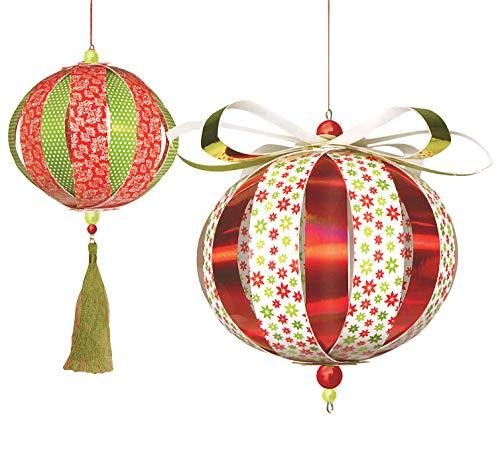 Golden Lutz® Bastelset Weihnachtsschmuck selber basteln, Papier-Kugeln Ø10cm, 230-teilig (rot grün weiß - Set 2) | CRELANDO