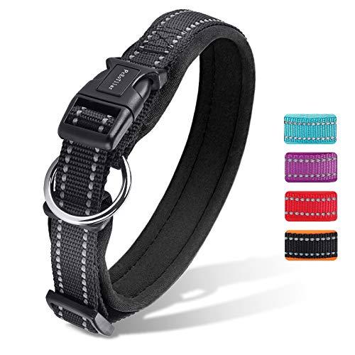 Hundehalsband Verstellbare, Gepolstertes Neopren Nylon Reflektierend Hunde Halsband Atmungsaktives für Welpen Kleine Mittlere Große Hunde - Schwarz - M