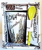 Tazza da caffè grande con motivo della città di Barcellona