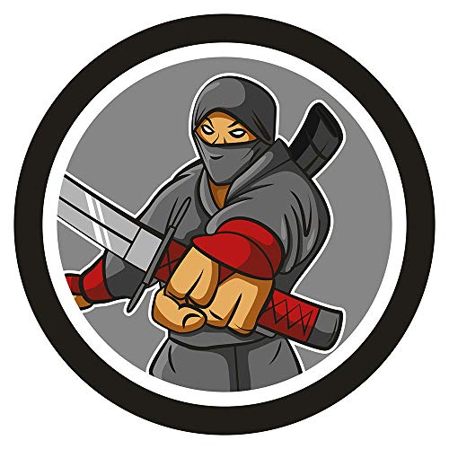 dekodino® Wandtattoo Asien Ninja Kämpfer im Comic Look Wanddekoration
