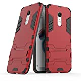 MaiJin Case for Xiaomi Redmi 5 Plus (5.99 inch) 2 in 1 Shockproof with Kickstand Feature Hybrid Dual Layer Armor Defender Protective Cover (Red)