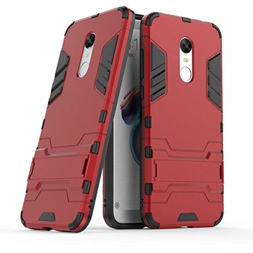 Funda para Xiaomi Redmi 5 Plus (5,99 Pulgadas) 2 en 1 Híbrida Rugged Armor Case Choque Absorción Protección Dual Layer Bumper Carcasa con pata de Cabra (Rojo)