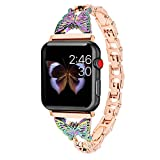 Hi-Yoohere Elegent Stylish Bands Compatible with Apple Watach 38mm 40mm Chic Butterfly Diamond Rhinestone Stainless Steel Metal Wristband Strap for iWatch SE & Series 6/5/4/3/2/1 (Rose Gold)