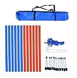 Pawhut Agility Sport pour Chien Slalom - Slalom pour Chien - Lot de 12 poteaux + ancrage Sol - Sac de Transport Inclus Rouge Bleu