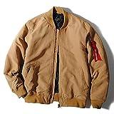 ハルハム (HALHAM) MA-1 ジャケット 中綿入り ピーチスキン加工 メンズ (L, ベージュ)