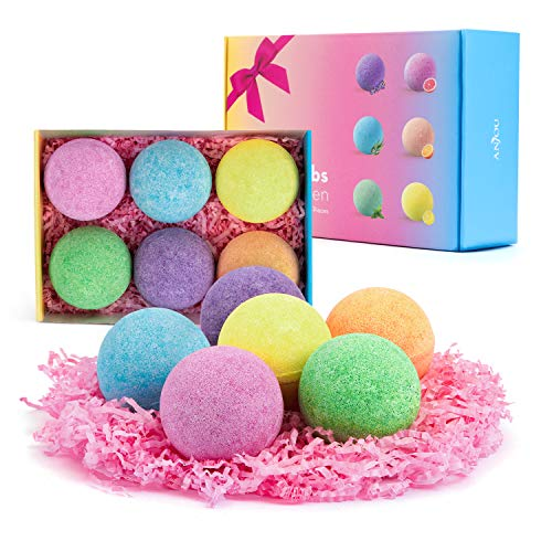 Anjou Bath Bombs, 6 Pack Fizzies Spa Gift Set Pure Natural Essential Oils Bubble Bath for Moisturizing Dry Skin, Spa Bath for Valentine's Day Birthday Gifts idea for Women, Kids, Girlfriend, Moms