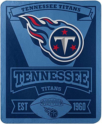 Officially Licensed NFL Tennessee Titans 'Marque' Printed Fleece Throw Blanket, 50' x 60', Multi Color