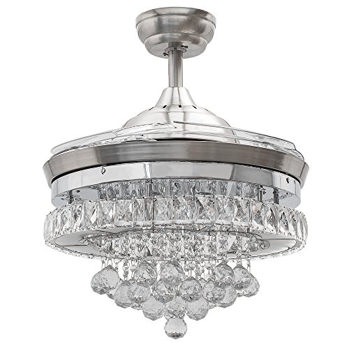Huston Fan Crystal Ceiling Fan Light Modern Chandelier Retractable Ceiling Fan with Remote for Indoor Living Restaurant Bedroom Dining LED 3 Color Setting-Not Dimmable,3 Down Rod,42 Inch Chrome Silver