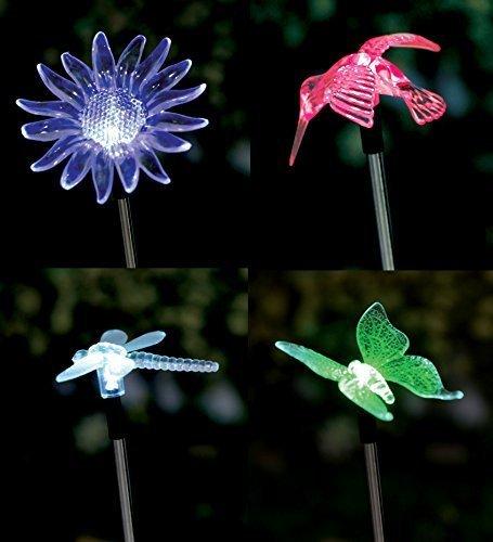 Lot de 4 lampes solaires de jardin à LED avec changement de couleur (papillon, libellule, fleur, colibri)