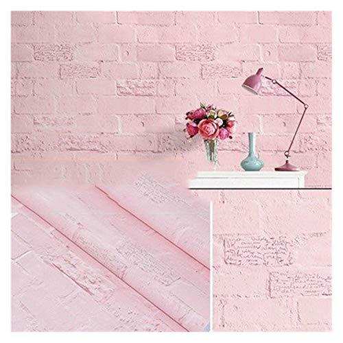 WHYBH HYCSP Reine Farbe grau Tapete selbstklebend einfache Warmer Schlafsaal Schlafzimmerdekoration Garderobe Schreibtisch wasserdicht Aufkleber (Color : Pink Brick, Size : 3mx60cm)