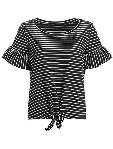 Romwe Women's Striped Short Sleeve Tie Front Knot Casual Loose Fit Tee T-Shirt Black S