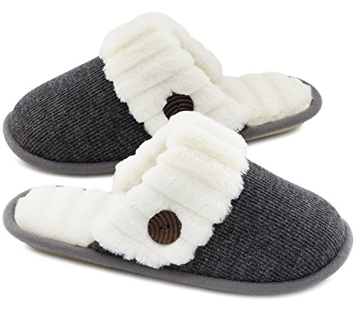 HomeTop Women's Cute Fuzzy Knitted Memory Foam Indoor House Slippers for Families Couples (37-38...