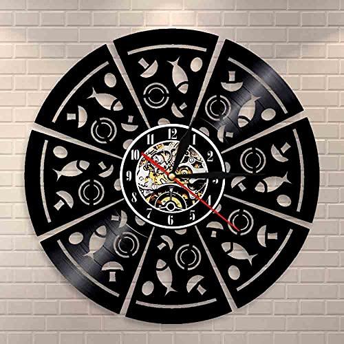 LED de colores Decoración de reloj de pared de vinilo Pepperoni Pizza Arte para colgar en la pared Reloj de pared moderno Reloj de pared con registro de vinilo de Pizza de hongos Reloj de pared c