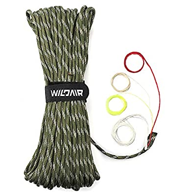 "WILDAIR Survival Paracord Parachute Fire Cord Survival Ropes 4-in-1 5/32"" Diameter U.S. Military Type III with Integrated Fishing Line, Fire-Starter Tinder (Forest Camo)"