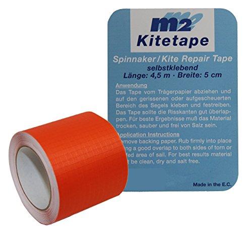 Kitetape - selbstklebendes Spinnaker Reparatur Tape für dünnes Spinnaker Segel Textilien Flicken Band - Nylon 5cm x 4,5 Meter - orange