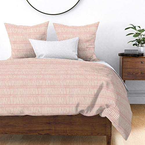 Buy Bargain Roostery Duvet Cover, Hand Drawn Stripe Blush Pink Dots and Dashes Weathered Look Modern...