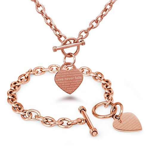 Tioneer Rose Gold Plated Stainless Steel Love Never Fails 1 Corinthians 13: 6-8 Heart Charm, Bracelet and Necklace Set (Toggle 1 Set)