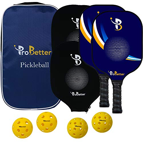 ProBetter Pickleball Paddle Set 2 Premium Graphite Face Rackets | Two Outdoor Balls | Two Indoor Balls | Portable Equipment Bag kit - Polymer Honeycomb Core Racquet Ultra Cushion Grip (with Covers)