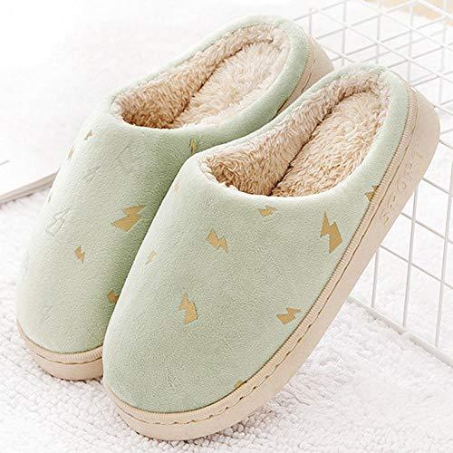 HUSHUI Slippers Calienta Y CóModo Ideal,Zapatillas Antideslizantes Gruesas y Resistentes al Desgaste.Soporte de algodón Interior par-Green_36-37,Memoria Zapatillas De Estar Al Aire Libre