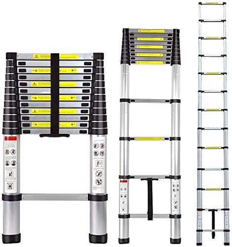 Telescoping Ladder 8.5/15.5/16.4 ft Aluminum Multi-Use, One Button Retraction Telescopic Extension Extendable Ladder,Slow Down Design Compact Ladder for Household Daily or Hobbies (8.5FT)
