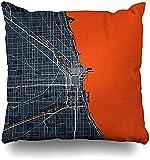 Fundas Para Almohada,Boda De Hongos Dulces Libros Geométricos Antiguos Mapa De La Ciudad De Chicago ...