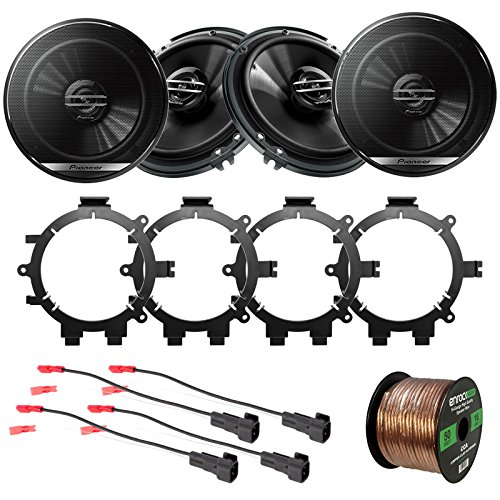 """4X Pioneer 6.5"""" 2-Way Coaxial Car Speakers 300W Max./40W Nominal with Enrock Speaker Mounting Brackets and Wire Harness Compatible with Select 1996-2009 GM Full Size SUV Car Vehicles"""
