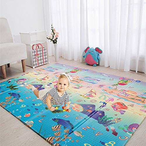 Eanpet Baby Play Mat Folding XPE Thick Foam Playmat Floor Non-Slip Large Foam Reversible Area Rug Waterproof Baby Toddler Play Crawl Mat, Portable Non-Toxic Activity Mat - 5 x 7 FT (Sea)