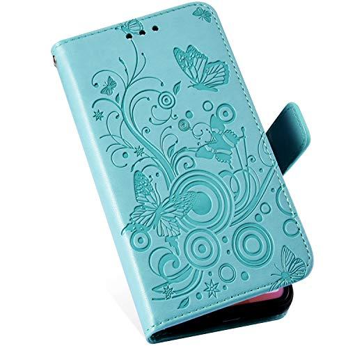 MoreChioce Compatibile con Custodia Nokia 5.1 2018 Cover Pelle, Bella Farfalla e Fiore Pattern Diamond Leather Cover Portafoglio PU Case Magnetico Chiusura[AntiGraffio],Verde/Farfalla