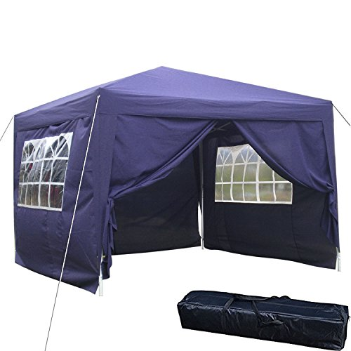 Ultrey Garden Gazebo 3 x 3 m Folding Gazebo with 4 Sides Party Tent Waterproof Foldable Camping Tent Festival Trek shelter Garden Furniture