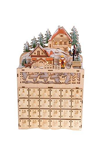 Clever Creations - Adventskalender mit weihnachtlichem Dorfmotiv - LED-Beleuchtung - aus Holz - einzigartige Weihnachtsdeko - batteriebetrieben - 22,2 x 7,6 x 35,6 cm