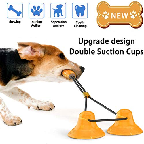 Dog Toy Suction Cup, Multifunctional Double Suction Cups Tug of War Molar Bite Chew Teeth Cleaning Interactive Pet Toys with Rope Dispensing Food Ball for Small Large Dogs