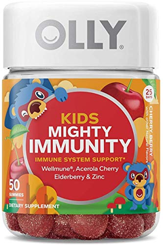 OLLY Kids Mighty Immunity Gummy Supplement with WELLMUNE, Cherry Berry,