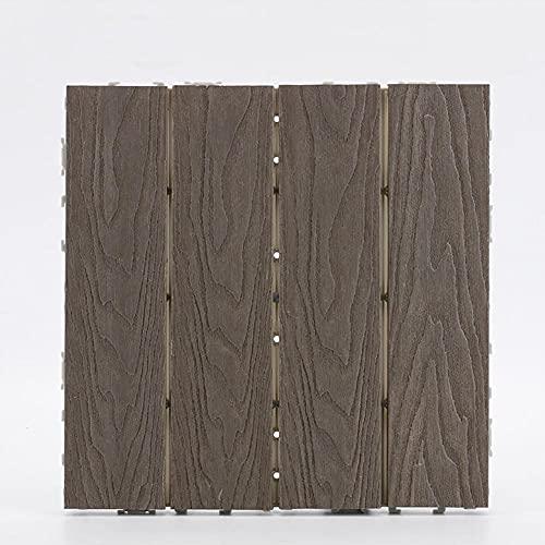 GUORRUI 11 X Baldosas De Jardín con, Deck Composite Plus Decking Tiles, WPC Decking Tiles with Click System para Terraza, Balcón, Techo, Terraza De Jardín, 30x30x2,2 Cm (1 M²)
