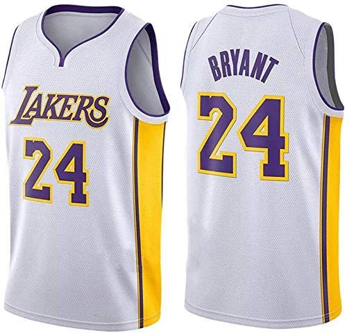 Sin mangas unisex 24 de Kobe Bryant Lakers Jersey, baloncesto masculino, bordado de malla de baloncesto swingman Jersey Gran,V neck white 24,L