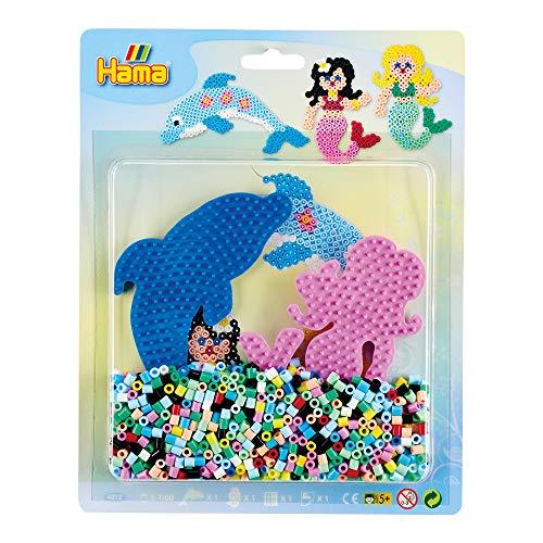 Hama Perlen 4212 Set Meer mit ca. 1.100 bunten Midi Bügelperlen mit Durchmesser 5 mm, 2 Stiftplatten, inkl. Bügelpapier, kreativer Bastelspaß für Groß und Klein