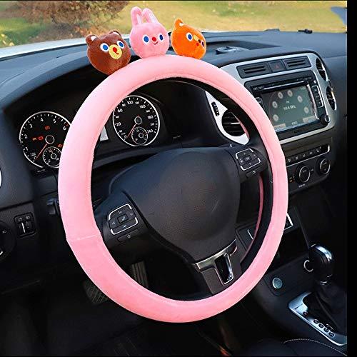 CMmin Steering Wheel Cover, Creatieve Pluche Cartoon Ademende Massage voor Platte Bodem Stuurwiel Cover voor Vrouwen Stijl Slip