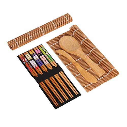 VROSE FLOSI 15pcs Sushi-Kit mit 2 Laufbänder 5 Paar Essstäbchen aus Bambus, dass vor Reis Paddle Rice Spreader
