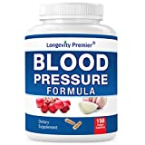 Longevity Blood Pressure Formula [150 Capsules] - with 12+ Natural Herbs. Best Blood Pressure Supplement