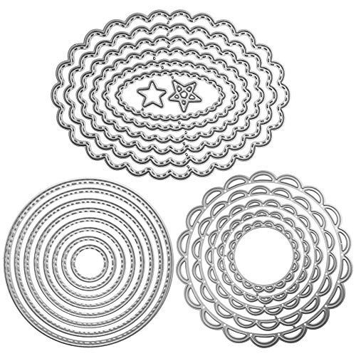 FineGood, set di 3 fustelle in metallo per goffratura, stampi per lavori fai da te, per realizzare biglietti, album di ritagli, decorazioni, motivi: fiori, cerchi, ovali
